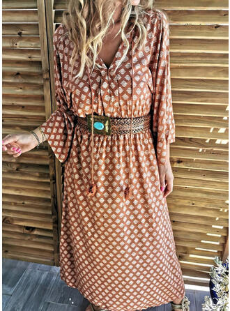 Print Long Sleeves Shift Casual/Vacation Maxi Dresses