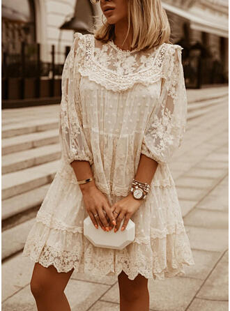 Lace/Solid 3/4 Sleeves Shift Above Knee Elegant Tunic Dresses