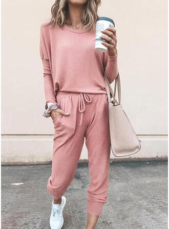 Solid Drawstring Casual Sporty Pants Suits