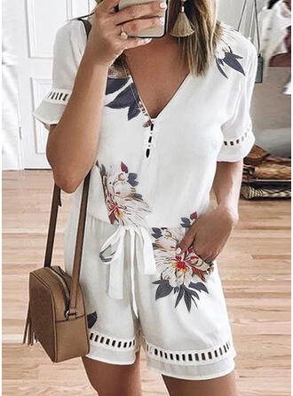 Floral Print Lace V-Neck Short Sleeves Casual Romper