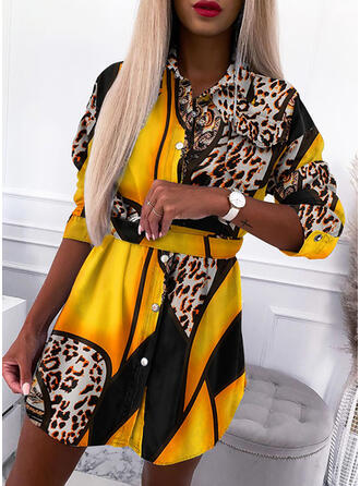 Print/Leopard Long Sleeves Sheath Above Knee Casual Shirt Dresses