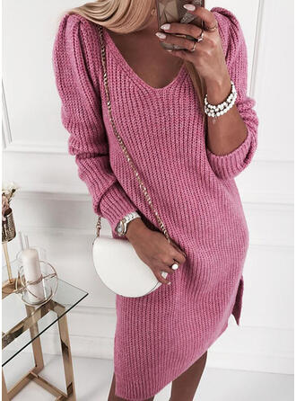 Solid V-Neck Casual Long Sweater Dress