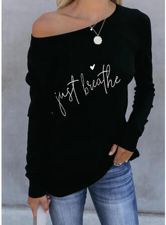 Figure Heart Print Round Neck Long Sleeves T-shirts