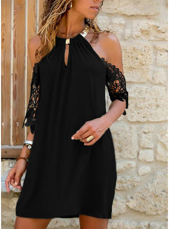 Lace/Solid 1/2 Sleeves Shift Above Knee Little Black/Elegant/Vacation Dresses