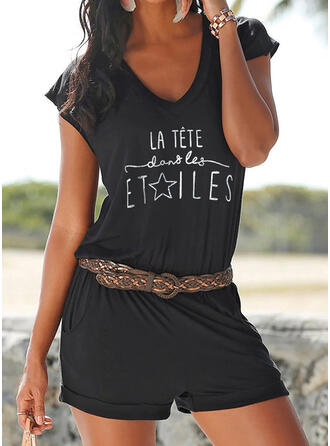 Print V-Neck Short Sleeves Casual Vacation Romper