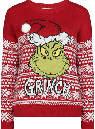 Unisex Polyester Print Letter Cartoon Ugly Christmas Sweater