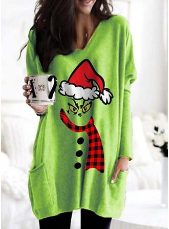 Print Grid Pockets Round Neck Long Sleeves Christmas Sweatshirt