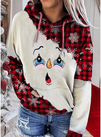 Print Pockets Long Sleeves Christmas Sweatshirt