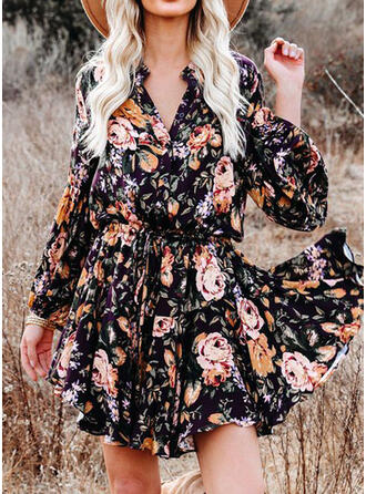 Print/Floral Long Sleeves A-line Above Knee Vacation Skater Dresses