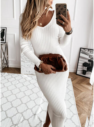 Solid Long Sleeves Bodycon Little Black/Casual Midi Dresses